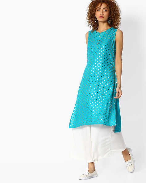 Polka Dot Print Straight Kurta By FUSION ( Teal )