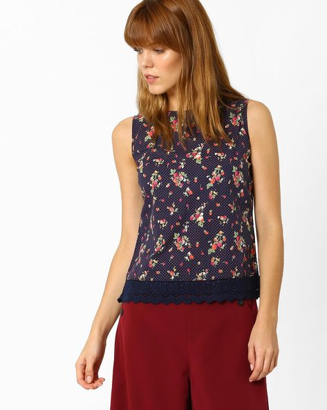 Floral Print Sleeveless Top By Style Quotient By Noi ( Navyblue )