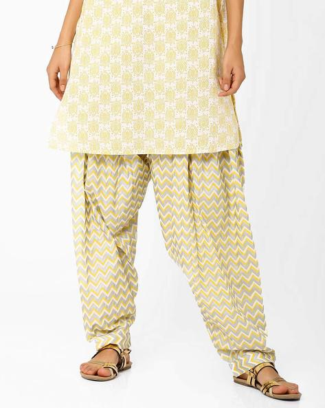 Chevron Print Salwar By AJIO ( Yellow )