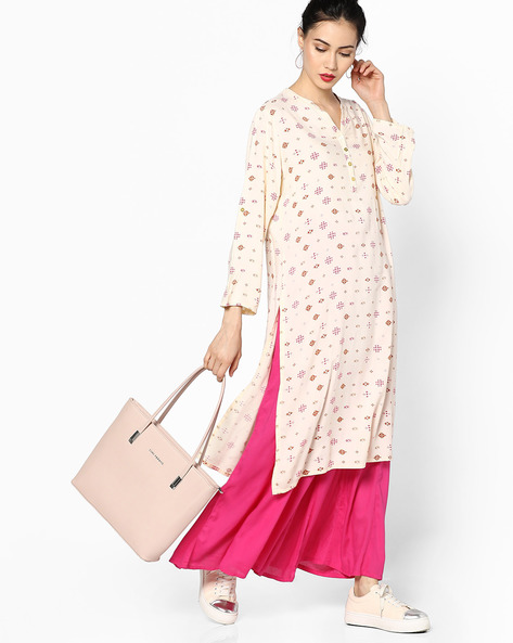 Printed Straight Kurta With Mandarin Collar By Melange By Lifestyle ( Offwhite )