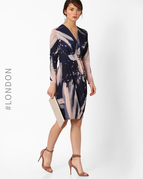 Printed Crossover Sheath Dress By Closet London ( Multi )