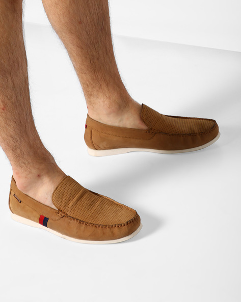 Genuine-Leather Loafers With Basket Weave By RED TAPE ( Tan )