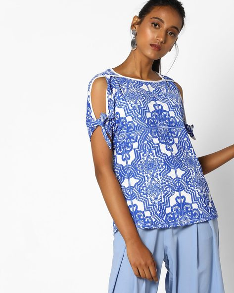 Printed Top With Cold-Shoulder Sleeves By And ( Multi )