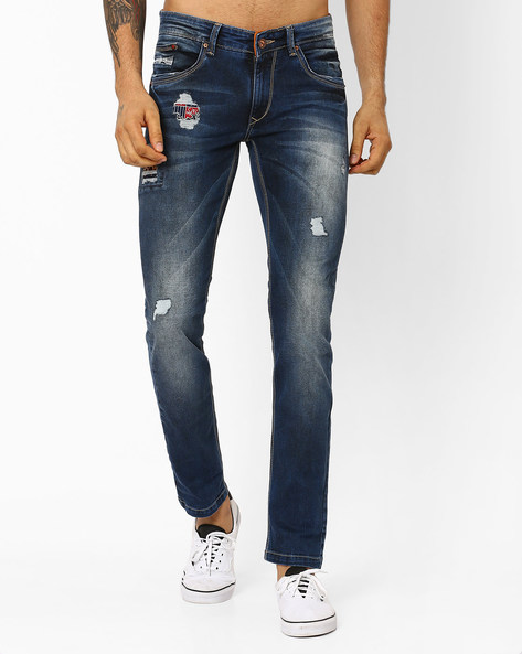 Actif Distressed Skinny Fit Jeans By SPYKAR ( Blue )