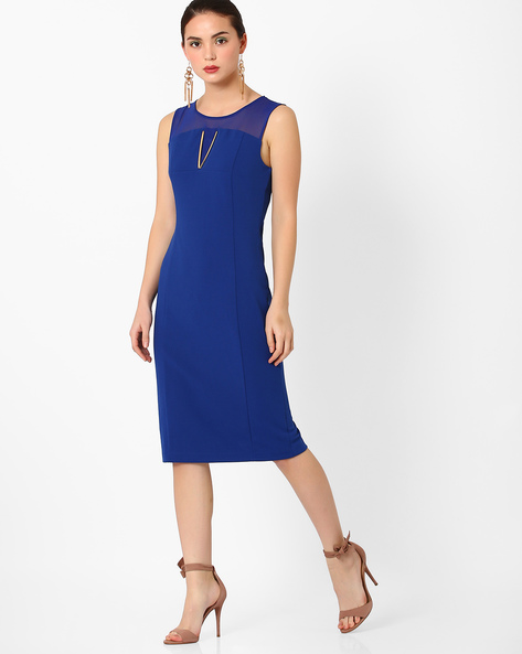 Panelled Sheath Dress By AJIO ( Blue )