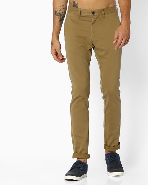 Flat-Front Stretch Chinos By NETPLAY ( Khaki )