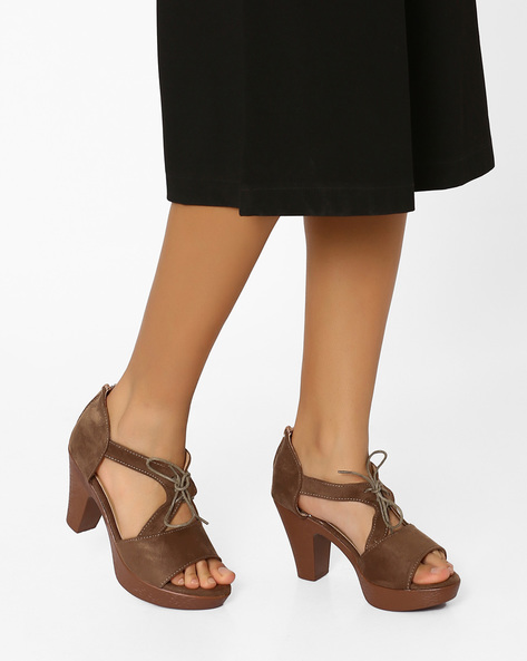 Block Heels With Tie-Ups By MFT Couture ( Taupe )