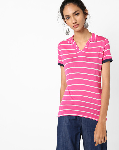 Striped Collar T-shirt By UNITED COLORS OF BENETTON ( Blue )