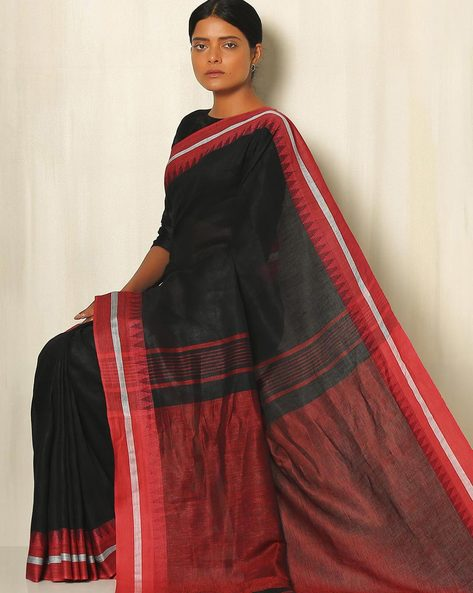 Handwoven Linen Saree With Cotton Contrast Border By Indie Picks ( Blue )