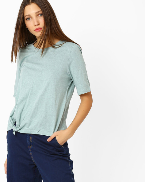 Heathered Top With Tie-Up By Vero Moda ( Blue )