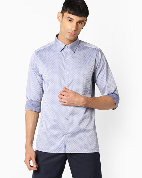 Slim Fit Shirt With Patch Pocket By VIMAL APPARELS ( Blue )
