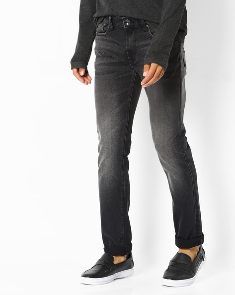 Lightly Washed Slim Fit Jeans By Pepe Jeans ( Black )
