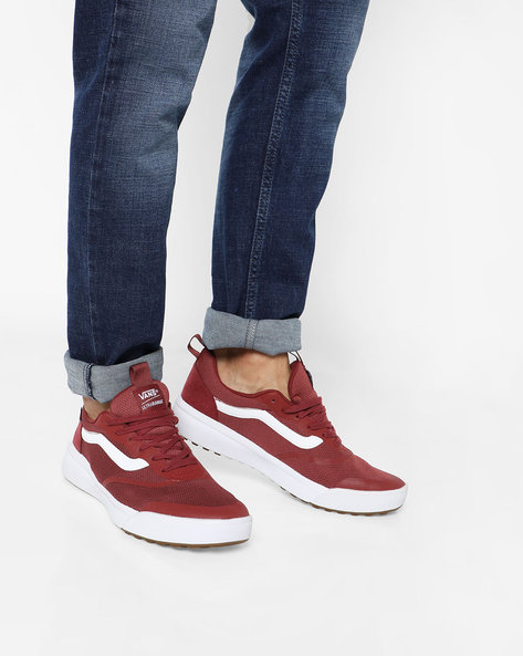 Low-Top Lace-Up Shoes By Vans ( Red )