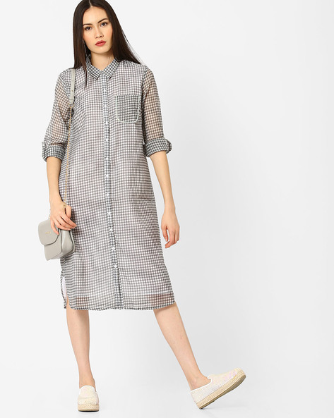 Checked Shirt Dress With Patch Pocket By AJIO ( Grey )
