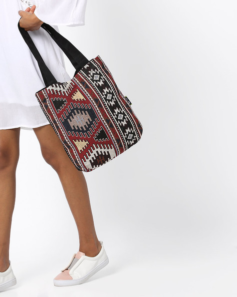 Canvas Tote Bag With Jacquard Weave By Kanvas Katha ( Multicolor ) - 460150407001
