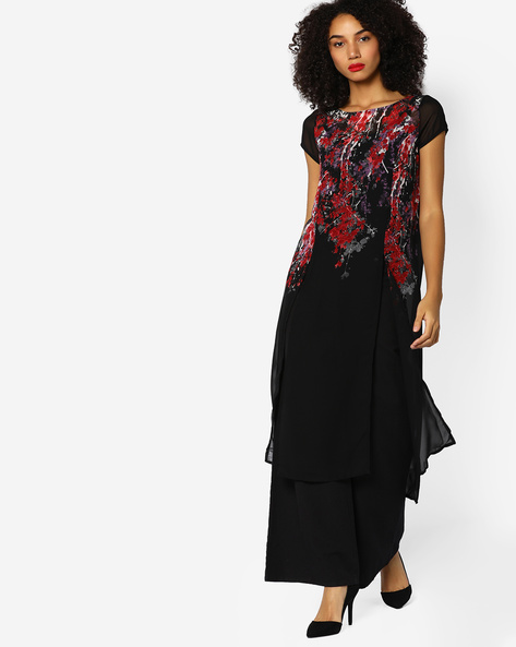 Floral Print Kurta With Front Slits By Melange By Lifestyle ( Black )