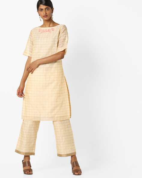 Checked Kurta With Embroidery By AJIO ( Offwhite )