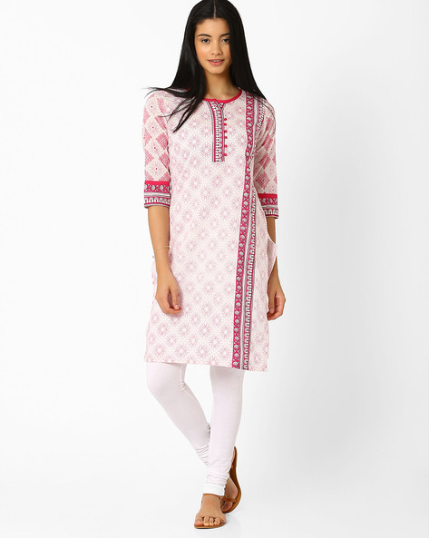 Floral Print Kurta With Bobble Trims By AVAASA MIX N' MATCH ( Pink )
