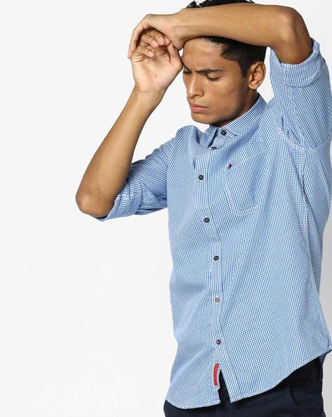 Checked Shirt With Patch Pocket By British Club ( Blue ) - 460108735002