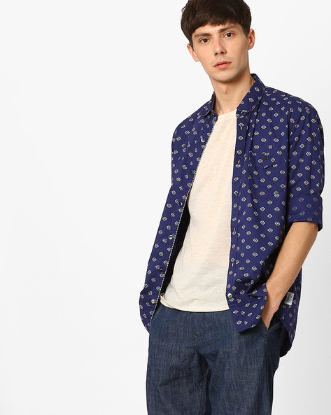 Printed Slim Fit Shirt By Killer ( Navy )