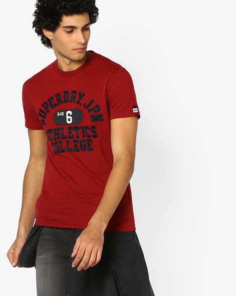 Crew-Neck T-shirt With Appliqué By SUPERDRY ( Be6 )