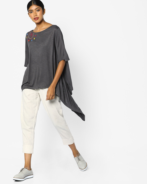Tunic With Placement Embroidery By AJIO ( Grey )