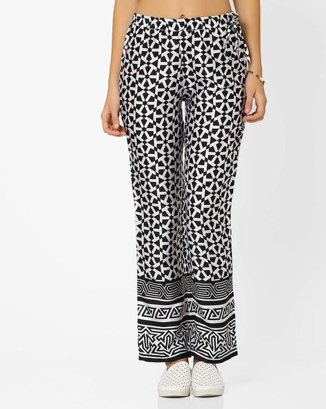 Printed Pants With Elasticated Waist By Indian Ink ( Blackwhite )