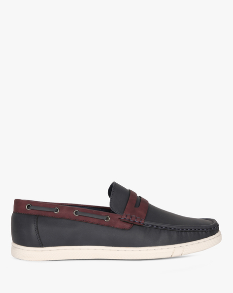 Slip-On Boat Shoes With Eyelets By Spunk ( Navy )
