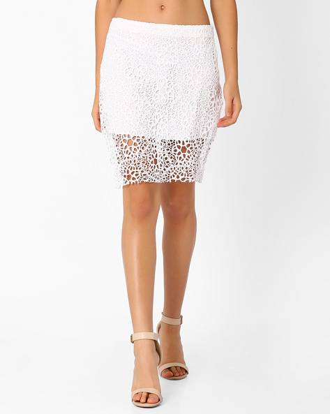 Lace Pencil Skirt By Lotus Threads ( White )