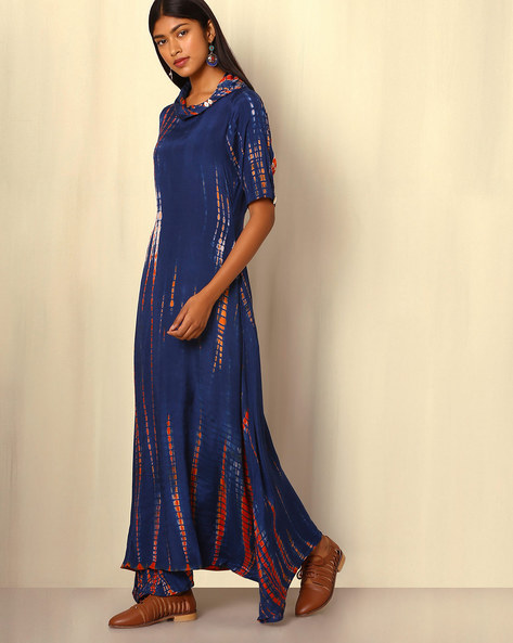 Tie-and-Dye Cotton Silk Dress By Sanyogini ( Blue )