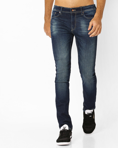 Slim Fit Jeans With Whiskers By AJIO ( Blue )
