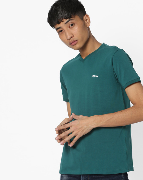 V-neck T-shirt With Embroidered Branding By FILA ( Seagreen )