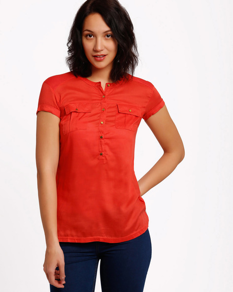 Top With Mandarin Collar By Izabel London By Pantaloons ( Red )