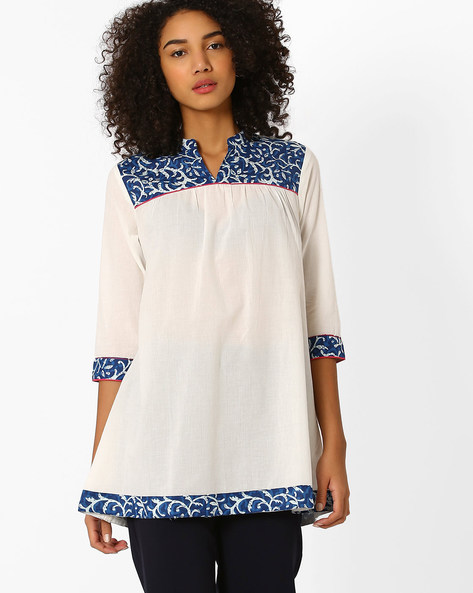 Cotton Tunic With Mandarin Collar By AJIO ( Offwhite )