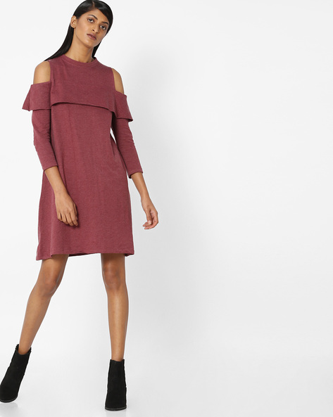Cold-Shoulder Shift Dress By Evah London ( Burgundy )