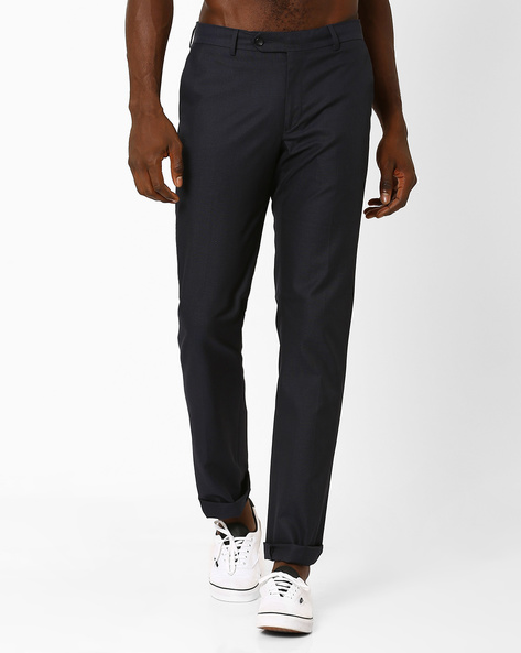 Flat-Front Slim Fit Trousers By Wills Lifestyle ( Blue )