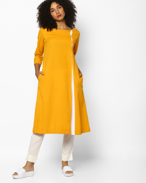 Boat-Neck Straight Kurta With Contrast Panel By PE IW Casual ( Yellow )