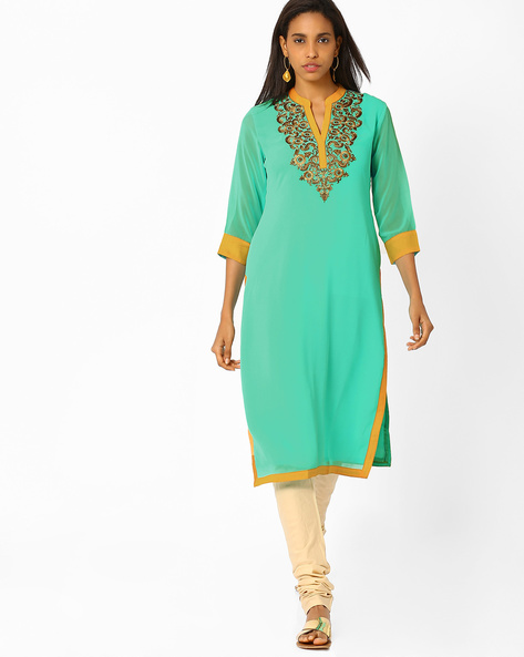 Kurta With Zari Embroidery By AJIO ( Blue ) - 460008172009