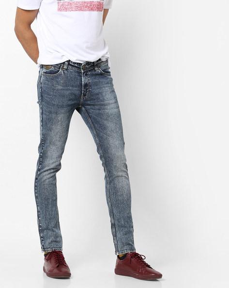Acid-Wash Skinny Jeans By SPYKAR ( Blue )