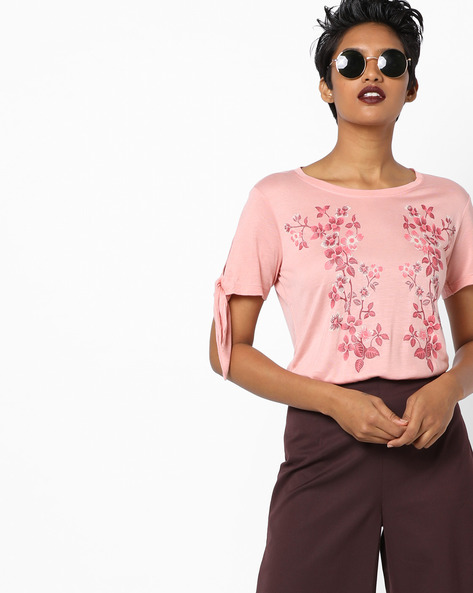 Floral Print T-shirt With Tie-Up Sleeves By AJIO ( Lightpink )