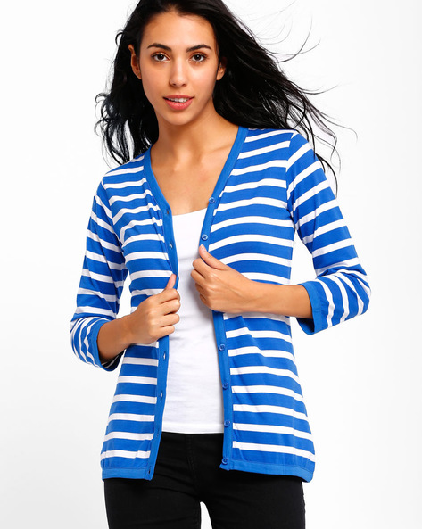 Striped Cardigan By Style Quotient By Noi ( Blue )