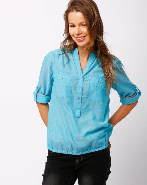 Shirt With Roll-Up Sleeve Tabs By FIG ( Blue )