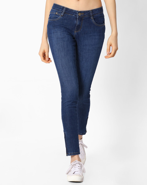 Lightly Washed Ankle Jeans By KRAUS ( Blue )
