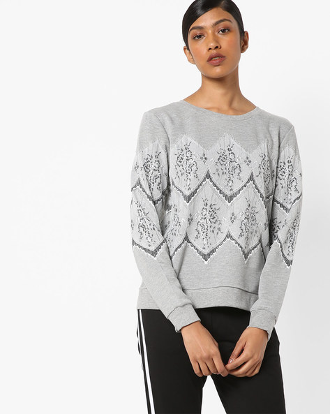 Floral Print Lace Sweatshirt By Only ( Greymelange )