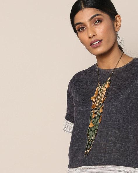 Beaded Tassel Necklace By Indie Picks ( Multi )
