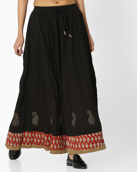 Cotton Maxi Skirt By SIYAHI ( Black )