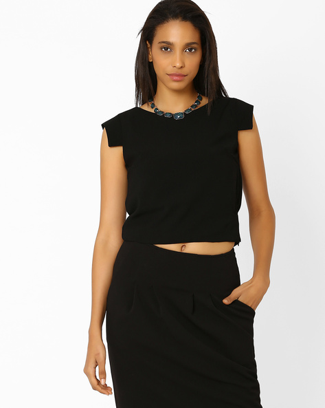 Crop Top With Cap Sleeves By AJIO ( Navyblue )