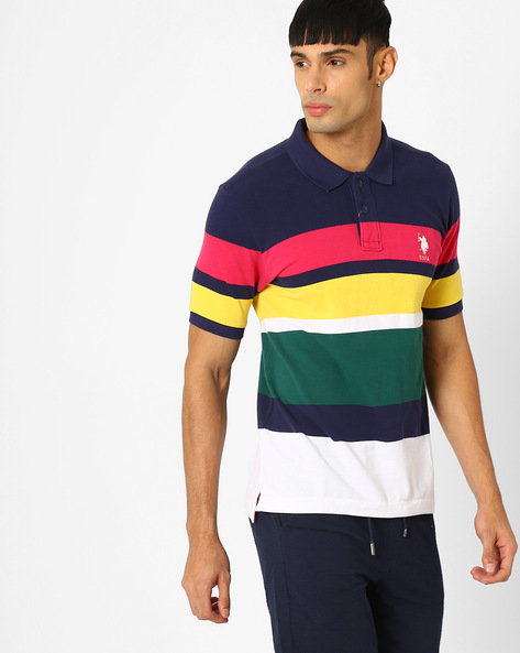 Striped Regular Fit Polo T-shirt By US POLO ( Blue )