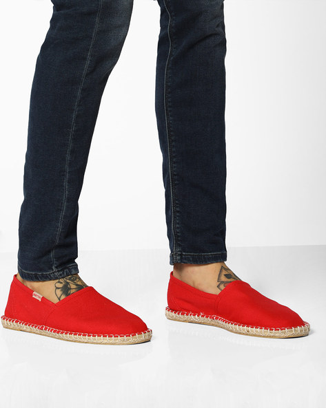 Canvas Espadrilles With Contrast Stitch By UNITED COLORS OF BENETTON ( Red )