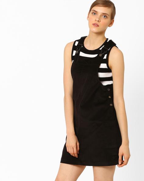 Pinafore Mini Dress By AJIO ( Black )